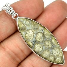 Indonesian Fossil Coral 925 Sterling Silver Pendant Jewelry SP208324