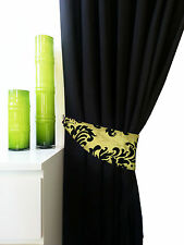 pair of flock damask curtain tie backs in 6 colours matching curtains available
