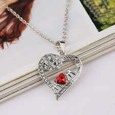 2017 Charm Mother's Day Gift for Mom Friend Red Diamond Heart Necklace Pendant