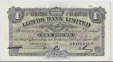 1960 Isle of Man Lloyds Bank Limited, £1 Pound Currency, P-12, AU/UNC XF RARE*