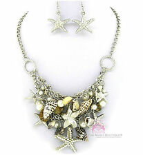 Nautical Silver Bib Beach Ocean Starfish Sea Shell Chunky Charms Necklace Set
