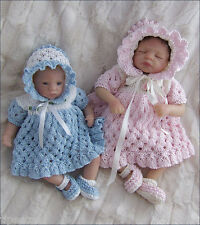 Dolls Knitting Pattern TO KNIT 8 - 13in Clothes 'Ella' Set, Dress, Bonnet, Shoes