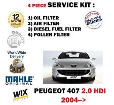 FOR PEUGEOT 407  2.0 HDi 6/2004-  NEW SERVICE KIT OIL AIR FUEL POLLEN (4) FILTER