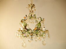 ~c 1920 French Tole Porcelain Flowers Crystals Chandelier Vintage Original~