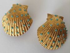 VINTAGE HOBE SIGNED TUQUOISE RHINESTONE SHELL EARRINGS