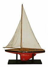 Antique French pound sailing boat  vintage yacht maritime toy boat