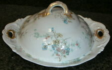 Theodore Haviland Limoges France Schleiger 1018 3 Pc Covered Butter Dish Teal Fl