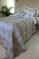 FRENCH STYLE KING SIZE GREEN WHITE QUILT 100% COTTON REVERSIBLE BEDSPREAD