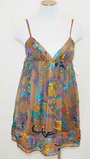 NWT CHIC Designer Glam Silk Sheer Floral Empire Baby Doll Summer Tank Dress S