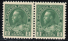 Canada 2c KGV Admiral Pair, Scott 107e, VF MNH, catalogue - $180
