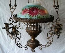 Gone With The Wind Hanging Lamp With Candelabras & Crystals c.1850 Victorian