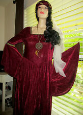 NIP Lady Gwenhyfar Costume long dress Medieval Queen Renaissance Velvet gown  XL