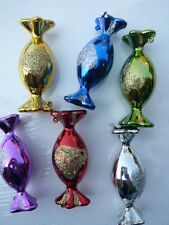 6 GLASS CANDY IN WRAPPERS SHAPED VINTAGE CHRISTMAS ORNAMENTS GLASS PURPLE, BLUE
