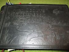 """Original Vintage 1931 Leatherbound GIRL SCOUTS MEMORY BOOK 12X7X2"""" 266"""