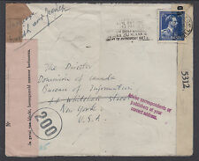 Belgium Sc 287 on 1945 Double Censored Cover to New York