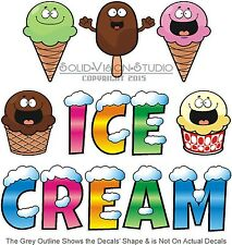 """Ice Cream Lettering Decal 7"""" Food Truck Concession Trailer Cart Vinyl Sticker"""