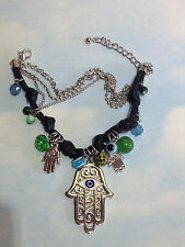 BIG HAMSA HAND EVIL EYE GOOD LUCK CHARM w/ GEMSTONES LEATHER BRACELET NICE GIFTS