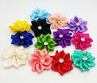 10pcs ~15 colors Satin Ribbon Flower with Crystal Bead Appliques Free shipping