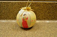 DISNEY SNOW WHITE Christmas yellow ball decoupage ornament  2005 gold bow