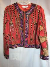 Niteline by Della Roufogali 100% Silk Beaded Sequin Tassel Red Jacket