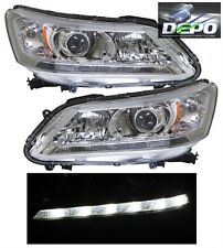 2013-2014 Honda Accord Sedan 4D OE Style Chrome Head Light DEPO LED DRL PAIR