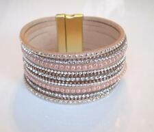 """Stunning Leather & Crystal Faux 7 Wrap Beaded Bracelet Magnetic Closure 7.5"""""""