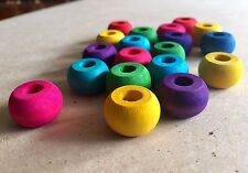 10 x Colour Round Wooden Abacus Beads 20mm - Donut Ring Pet Parrot Bird Toy Part