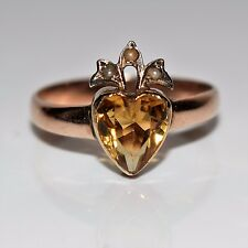 Victorian Citrine Heart Pearl 9ct Rose Gold Ring Size Q 1/2 ~ 8 1/2 ~ R~8 3/4
