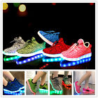 New Children Kids Boys Girls Led Light Lace Up Luminous Sneakers Casual Shoes