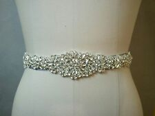 "17"" LONG Wedding Belt - Crystal Wedding Sash Belt  = 7 sash colors available"