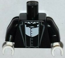 LEGO - Minifig, Torso Tux Jacket w/ Vest, White Shirt & Black Bow Tie - Black