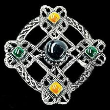 Pewter Celtic Brooch with carnelian, onyx and green enamel