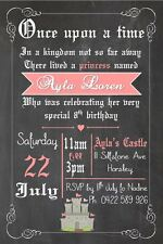 Invite Invitation Party Birthday Princess Once Upon A Time Castle Fairy Girl