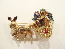 1948 Coro Craft Sterling & Rhinestone Figural Donkey & Flower Cart  Brooch