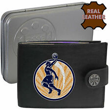 BasketBall Player Jumping Klassek Mans Leather Wallet Accessory gift present Tin