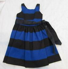 RALPH LAUREN girls 4T blue black fit flare stretchy party dress sash NEW