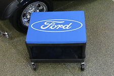 GoBoxes Rolling Garage Mechanic's Seat w Casters and Licensed Ford Cushion 9013