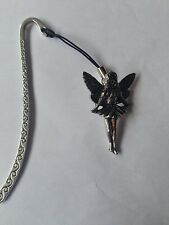 C14 Standing Fairy Pattern bookmark with cord 3D English pewter charm