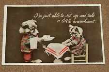 Vintage Postcard: Dog & Cat / Puppy & Kitten, Afternoon Tea