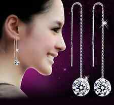 925 Solid Silver Natural Crystal Ear Wire Earrings women's fashion jewelry