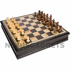 Chess 19 INCH EXTRA LARGE Board Game Set BURL Wood Wooden Inlaid Lift Up Pieces