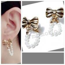Celebrities braided ribbon bow front back Tribal pearl studs crystal Earrings GW