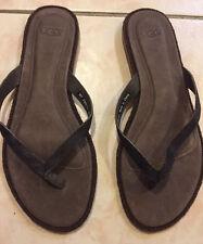 UGG Australia Allaria Black Calf Hair Thong Flip Flop Sandals Size 7 M
