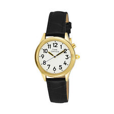 Ladies Deluxe Talking Wrist Watch Gold Tone with Alarm and Black Leather Band