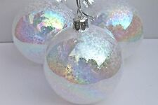 GISELA GRAHAM CHRISTMAS CLEAR GLASS IRID GLITTER MINI STARS FILLED BAUBLE  X 3