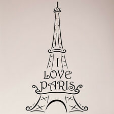 "36"" Eiffel Tower I Love Paris Ooh La La French France Wall Decal Sticker Love"