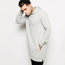 Hip hop hoodie shirt sweater black solid fleece side zipper oversize sweatshirts