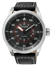Citizen Eco-Drive Stainless Steel Mens Black Aviation Watch AW1360-04E