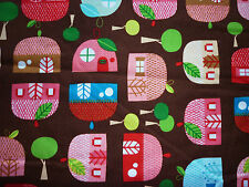 CLEARANCE FQ FAIRY APPLE ACORN HOUSES TREES LEAVES FABRIC KITSCH