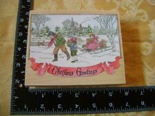 Stamps Happen Victorian Christmas Greetings Children sledding in snow wm stamp